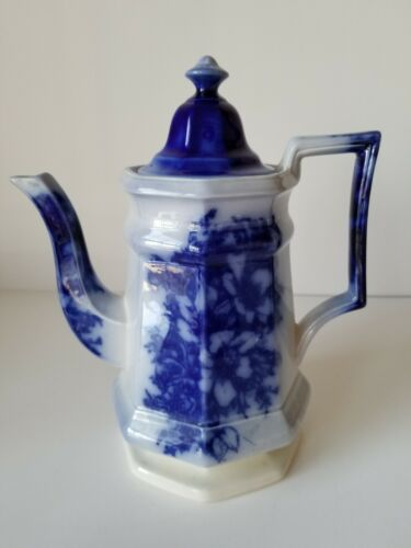 Excellent Large Flow Blue Ironstone Coffee Teapot Pot England