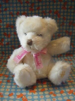 "HARRODS CREAM  TEDDY BEAR PINK BOW  9"" APPROX VGC"