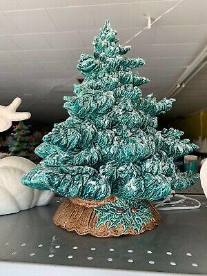 Hand Painted Ceramic Light Up CHRISTMAS TREE Emerald Green Glazed Glitter Snow