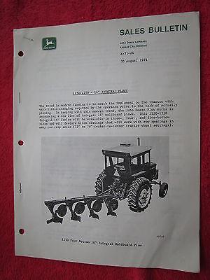 1971 For John Deere Dealers New 1150-1250 Moldboard Plow Sales Bulletinbrochure