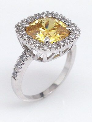 Brass November Birthstone Yellow Gem Square Ring 14mm Size 8 9 9.25