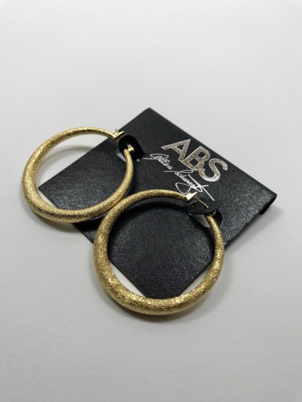 100% Authentic New ABS by Allen Schwartz Statement Gold-tone Hoop Earrings