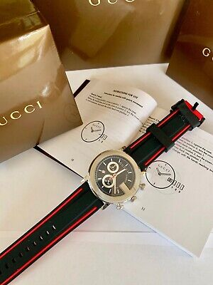 e895fc32547 GUCCI G-Chronoscope Mens Wristwatch Stainless Steel Black Dial Boxes  Authentic