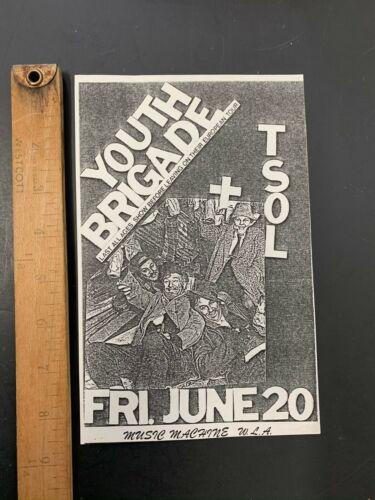 ORIGINAL 80S PUNK CONCERT FLYER YOUTH BRIGADE TSOL Los Angeles LA