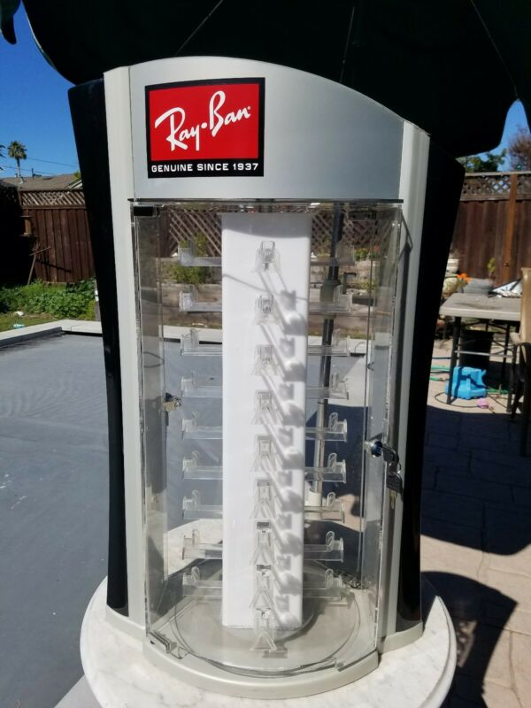 Rotating Ray-Ban Sunglasses Store locking Display Case Stand curved Plexiglas
