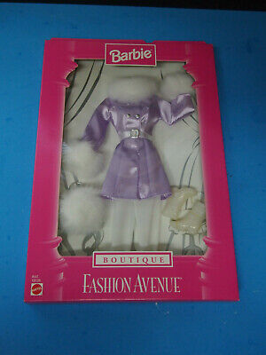 Barbie Fashion Avenue Boutique Purple and White Fake Fur Outfit Accessories 1998
