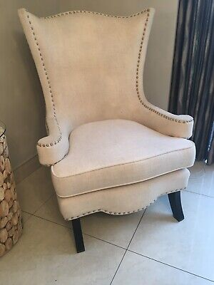 Wingback Cream Studded Armchair
