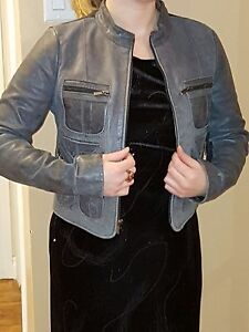 BCBG navy blue leather /Knit jacket must sell asap