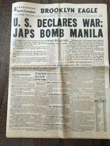 1941 Pearl Harbor Bombing WAR Brooklyn WWII Newspaper World War 2 ORIGINAL