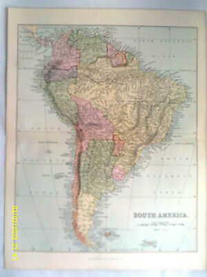 Coloured Antique Map. SOUTH AMERICA. Pub'd Wm. Macklenzie. c1895. VG.