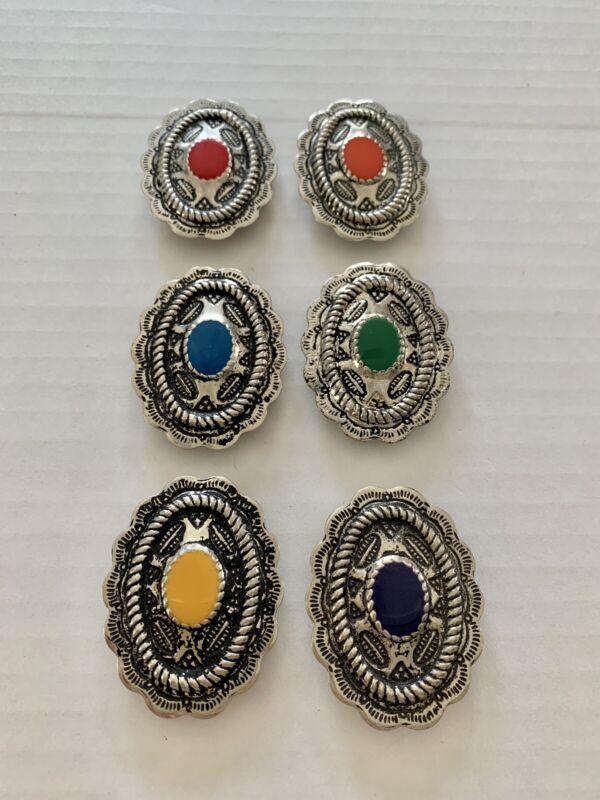 Vintage Multi-Colored Concho Style Button Covers