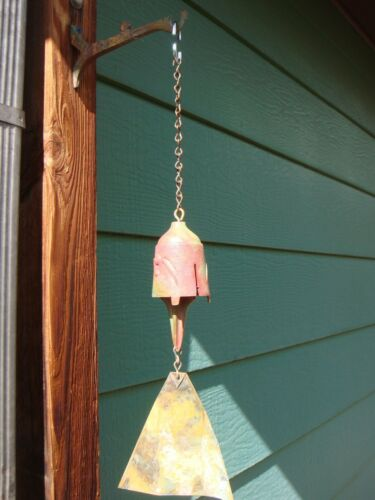 "Arcosanti Soleri 19"" Bronze Wind Bell - 3.5"" Slitted Bell Lovely Natural Patina"