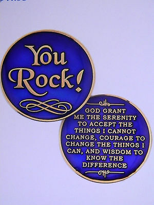 AA SOBRIETY TRI-COLOR MEDALLION - CHIP -YOU ROCK! WITH SERENITY PRAYER ()