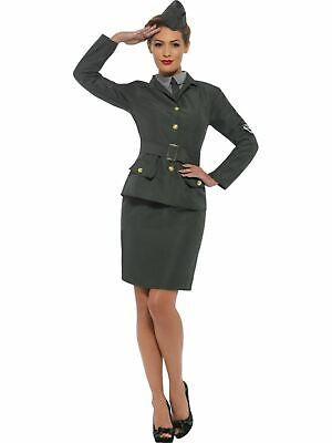 Army Costume 1930s 1940s Ladies Uniform Fancy Dress Outfit Military World War 2