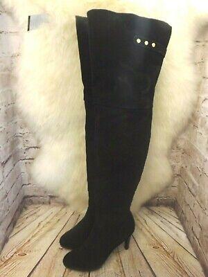 Womens Kelsi Dagger Black Suede Zip Up High Heel Thigh High Boots UK 7 US 9.5