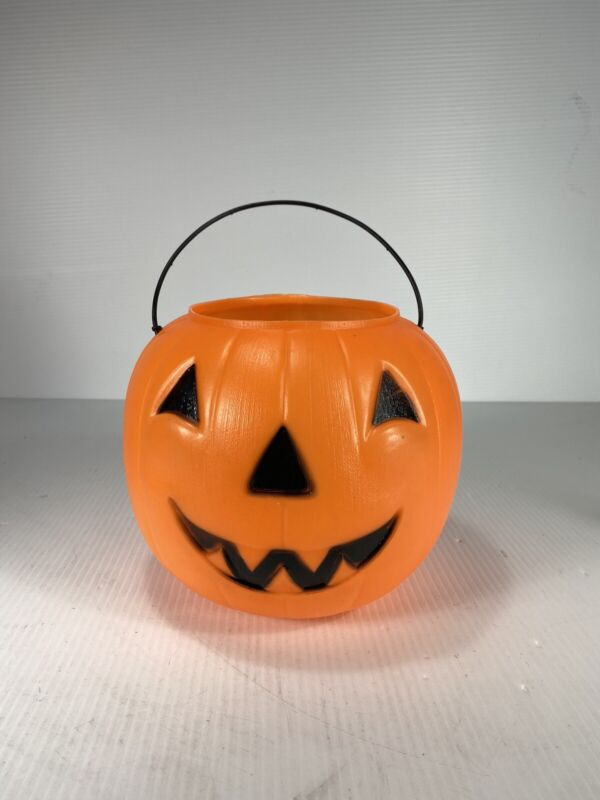 Vtg Norfolk Halloween Pumpkin Blow Mold Pail Bucket Trick-or-treat Made In USA
