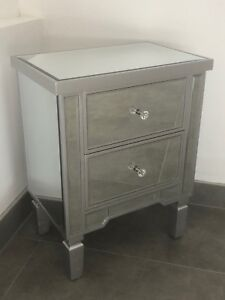 Modern Mirrored Venetian Glass 2 Drawer Bedside Table Cabinet With Silver Trim