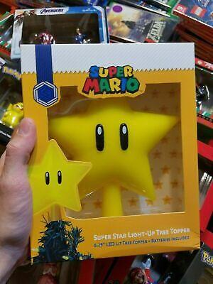 "Nintendo Super Mario Super Star Light Up Christmas Tree Topper Collectible 6.25"""