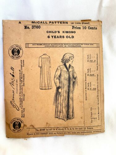 1900s Antique McCall No. 3760 Sewing Pattern Child