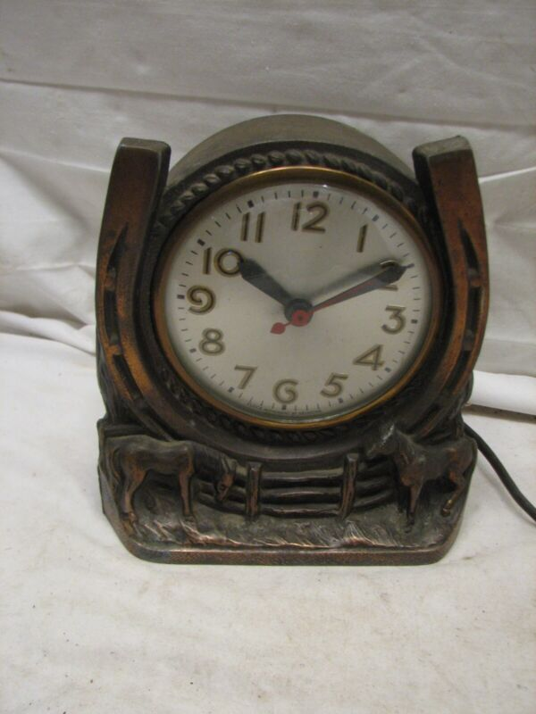 Early Figural Clock Horseshoe Clock Horse Bronze Finish Cast Equestrian Farm