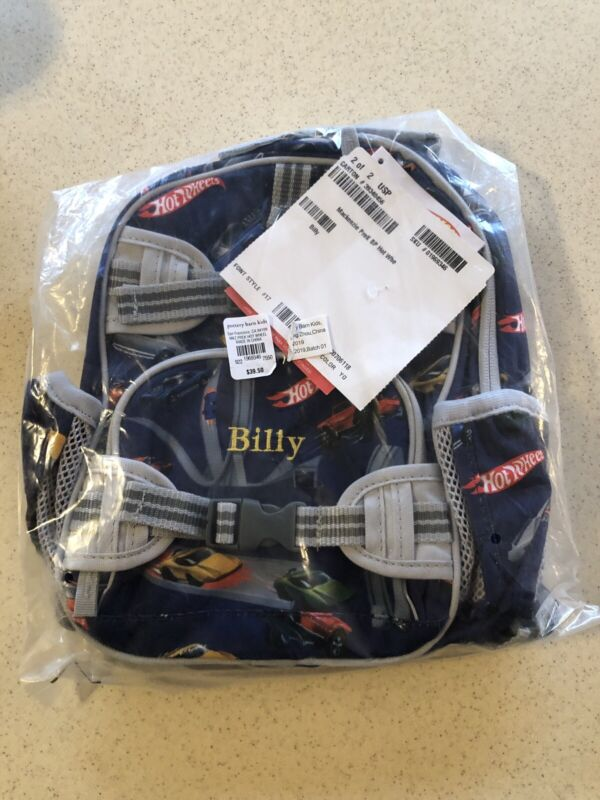 Pottery Barn Hot Wheels Kids Backpack. Billy Brand New w/Tags.Never Used