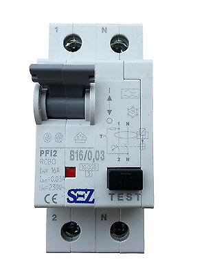 SEZ RCBO FI / LS B 16A 30mA 10kA VDE Leitungsschutzschalter Fi-Schalter
