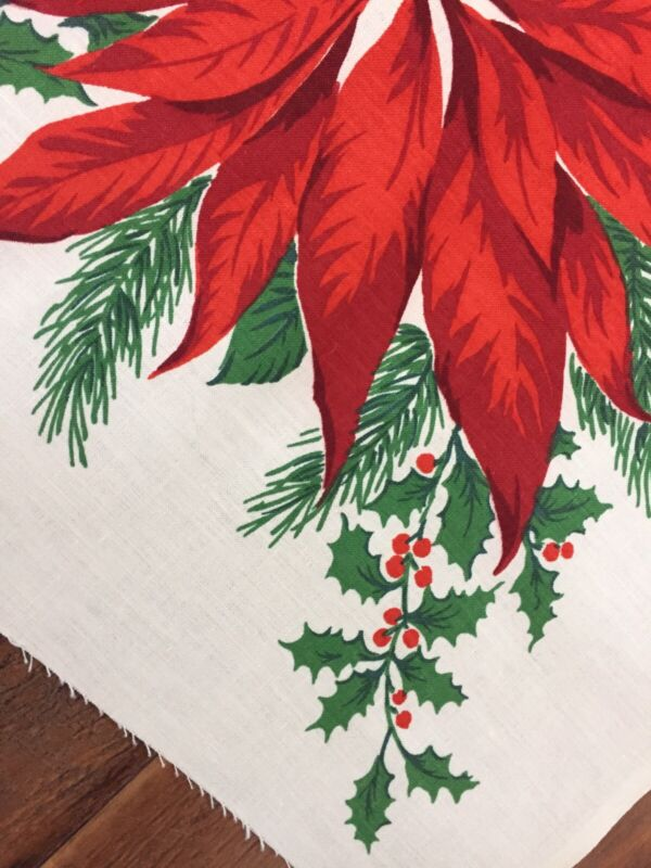 """VTG Christmas Fabric For Tablecloth 54"""" Wide X 2.5 Yards Poinsettias NOS"""