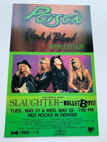 Poison Flesh and Blood World Tour 1991 Concert Poster
