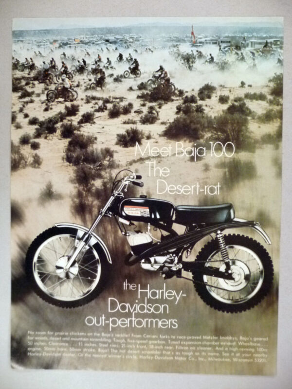 Harley-Davidson Baja Motorcycle PRINT AD -- 1970