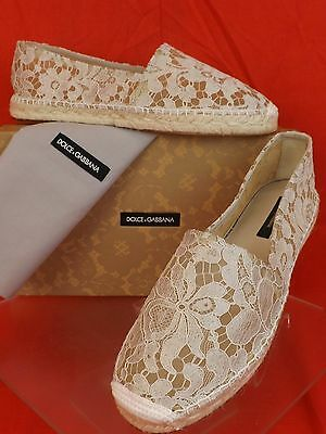 NIB DOLCE & GABBANA OFF WHITE ICE FLORAL PRINT LACE ESPADRILLE FLATS 40 $ 545