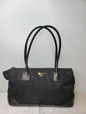 PRADA Vintage 'Milano' Black Nylon Satchel Shoulder Bag with Gold Logo