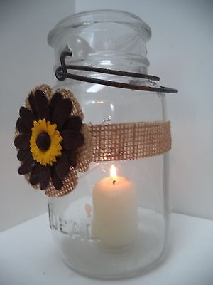 6 Sunflower Dark Brown Petals  Burlap Mason Jar  Centerpiece Wedding Wraps AU9 (Burlap Centerpieces)