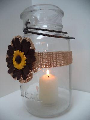 6 Sunflower Dark Brown Petals  Burlap Mason Jar  Centerpiece Wedding Wraps AU9 - Burlap Centerpieces