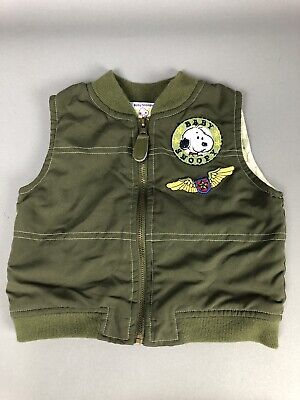 Baby Boy 6-9 Months Peanuts Vest Snoopy Jacket Green Kahki Fall Outerwear Layer