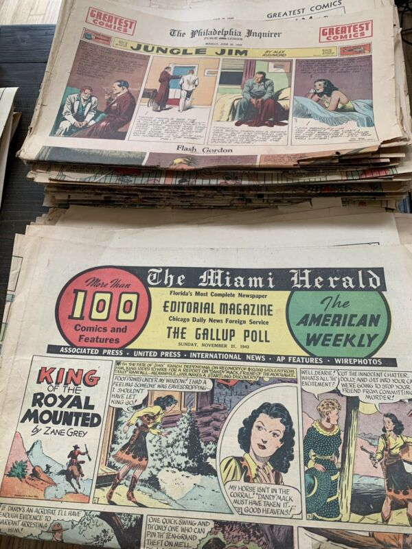 66 SUNDAY COMICS 1930's TO 1940s TABLOID SIZE One Sheets