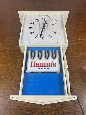 Vintage Rare Large Hamm's Beer Lighted Sign Clock - Antique Man Cave Decoration