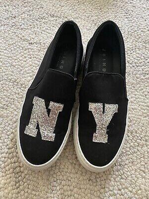 Auth Joshua Sander NY Black Sneaker Slip-on Platform us 7/eu37