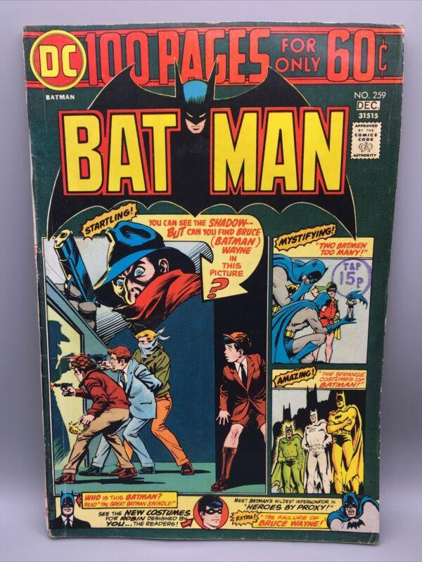 1974 Batman No. 259 Bronze Age Comic DC Batman & Robin Joker Vintage
