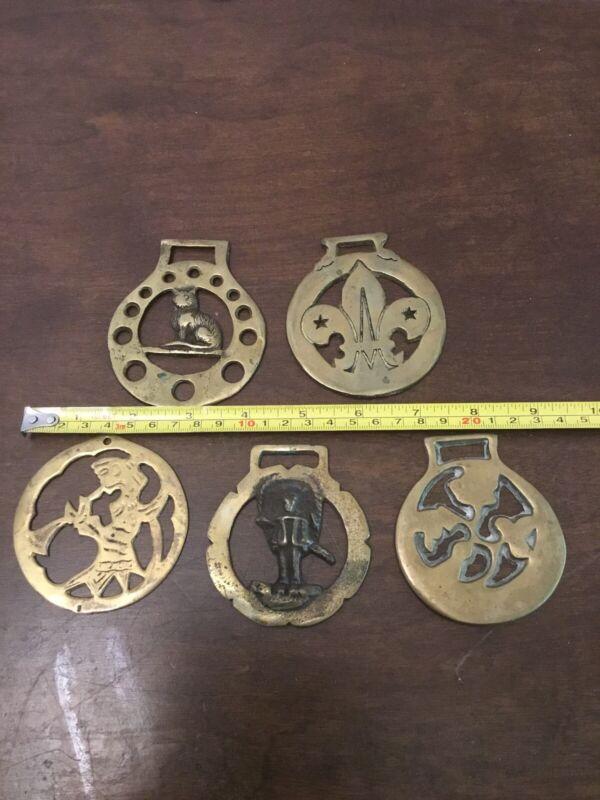 Brass Horse Bridle Medallions Vintage Lot Of 5 Flour De Lis Cat Person
