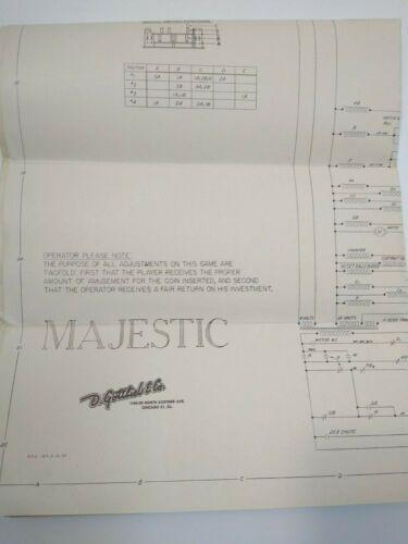 Majestic Gottlieb Pinball Machine Schematic Wiring Diagram Original 1957 Game