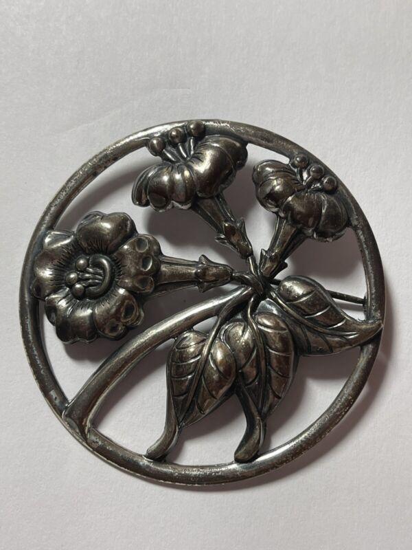 Vintage Danecraft Sterling Silver Flower Floral Round Circle Brooch Pin