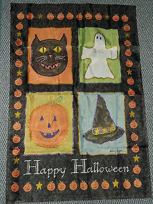 lloween Flag 4 Blocks Cat Pumpkin Ghost Witch Hat (k) (Blocks Happy Halloween)