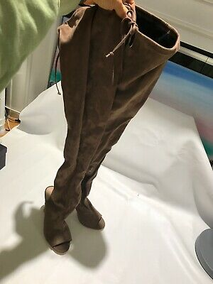 Thigh High Open Toe Sandal Boots 8.5 Medium Brown / Dark Taupe Faux Suede Sock (Open Toe Thigh High Socks)