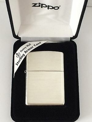 Armor Sterling Silver Zippo Lighter With Brushed Finish,  # 27, New In -