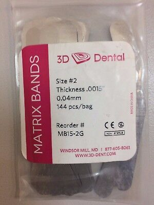 3d Dental Matrix Bands Size 2 Thickness .0015 0.04 Mm 144bag