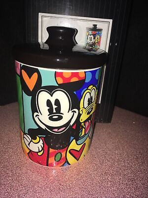 Romero Britto Disney Pluto With Mickey Mouse Canister Cookie Jar/Dog Treat jar