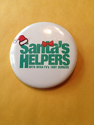 Troy Dungan Wfaa Tv Christmas Santas Helpers Pin Button 1 3 4 Inch