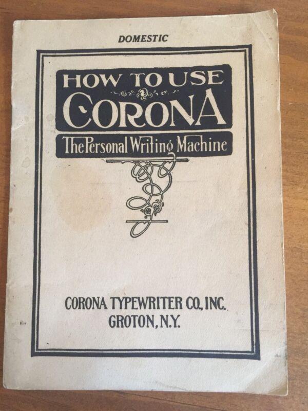 Vintage Corona Typewriter Co. How To Use Operators Manual Brochure Domestic