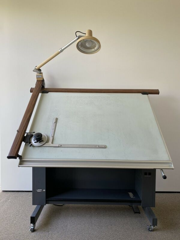 Retro Industrial Hamilton Mayline Craft/Drafting Table/Desk with Stool