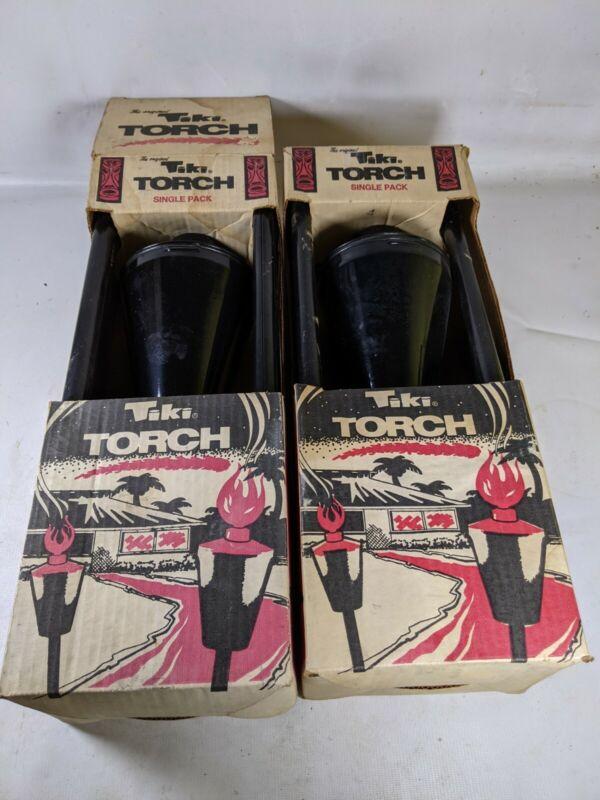 Pair of MCM VTG. THE ORIGINAL TIKI TORCH BLACK METAL Used In Original boxes